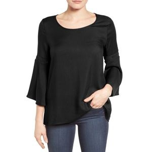 Pleione Lace Inset Black Bell Sleeve Blouse